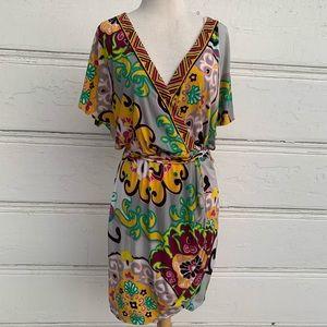 Hale Bob Patterned Wrap Dress Sz Lg